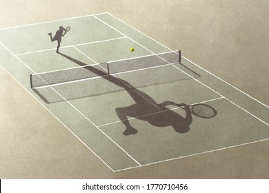 illustration of man playing tennis with his shadow, surreal abstract concept