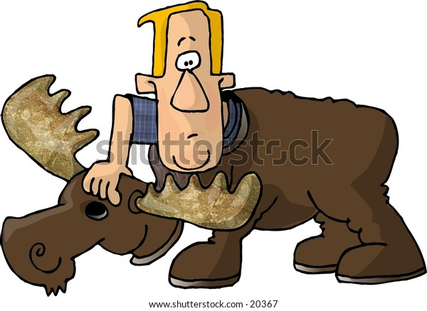 Illustration of a man putting on a moose costume.