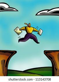 An illustration of a man running across two cliffs