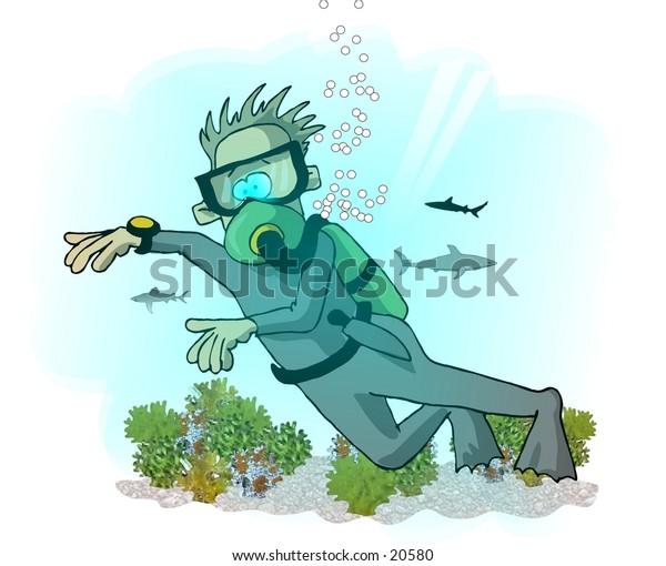 Illustration of a man scuba diving.