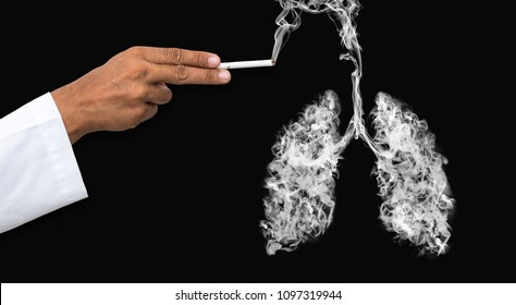 Illustration of a man shooting with a cigarette gun with a toxic smoke in Lung . lung cancer and illness concept .