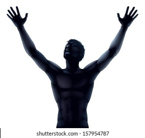 An illustration of a man in silhouette hands and arms raised stretching up to the sky in praise or joy