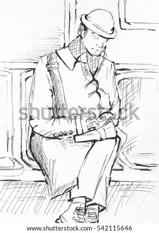 Illustration Man Sitting Subway Car Take Stock Illustration