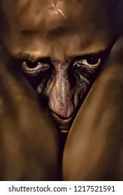 Illustration of man suffering of mental disorder, artistic portrait of neurotic man in darkness