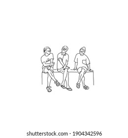 Illustration of a man talking with three people