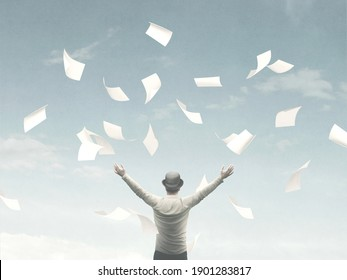 illustration of man throwing sheets of paper in the air, surreal concept