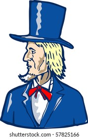illustration of a man with top hat looking to side