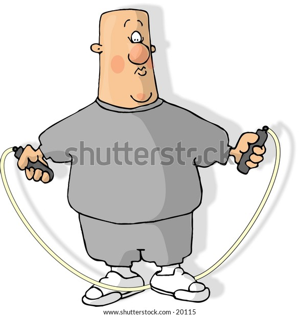 Illustration of a man using a jump rope.