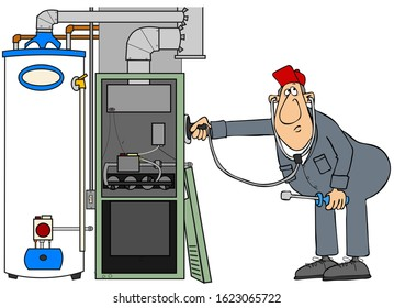 Illustration of a man wearing coveralls troubleshooting a gas furnace and water heater with a stethoscope.
