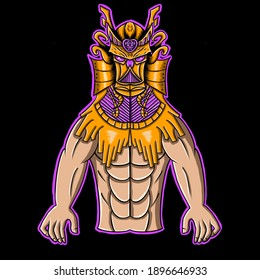 Illustration of a man wearing a mask perfect for mascot logo, sticker, print materials, fitnes logo, and ect.