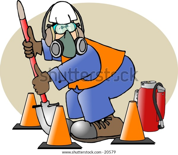 Illustration of a man wearing safety equipment.