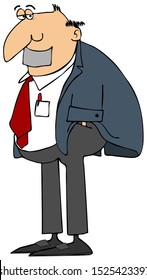Illustration of a man wearing a sport coat and slacks with hands in his pockets and duct tape covering his mouth.