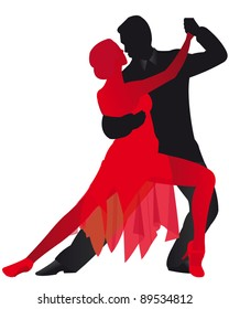 Illustration of man and woman dancing