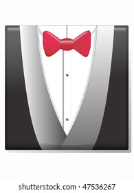 Illustration of a man's formal attire, red bow tie and tuxedo jacket.