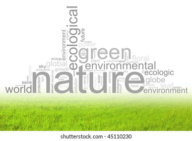 Illustration with many different terms like natur, environment or future