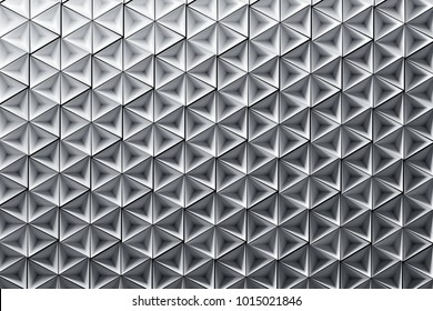 Illustration with many repeating inverted pyramids in pure white colors. Geometric three dimensional pattern with inverted pyramids. 3d illustration.