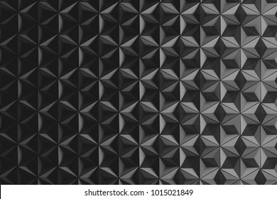 Illustration with many repeating inverted pyramids in dark monochrome color. Geometric three dimensional pattern with hexagons made of inverted pyramids. 3d illustration.