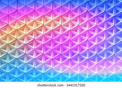 Illustration with many repeating inverted pyramids colored with liquid vivid colorful pink blue yellow gradient. 3d illustration.