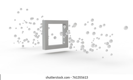 illustration of many white balls, the elementary particles flying through the square in white, the idea of penetration. The gates of time. Abstract image on a white background. 3D rendering