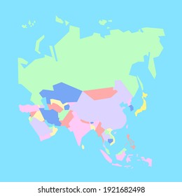 Illustration map of Asia's countries to study