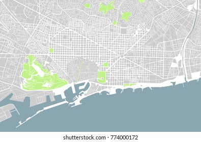 illustration map of the city of Barcelona, Spain Catalonia