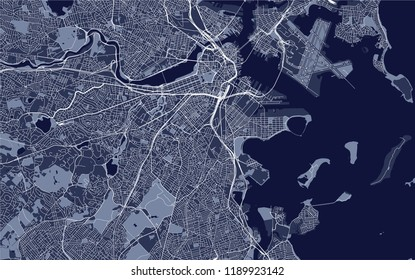 illustration map of the city of Boston, USA