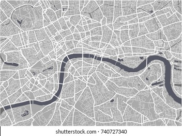 illustration map of the city of London, Great Britain