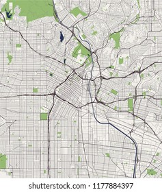 illustration map of the city of Los Angeles, USA