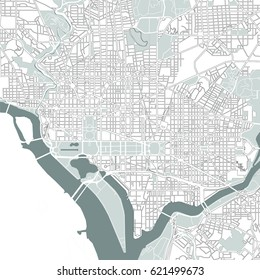 illustration map of the city of Washington D.C., USA