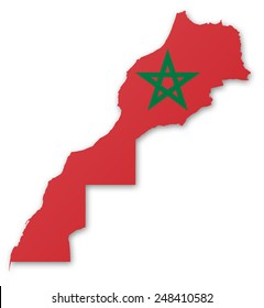Illustration of a map with a flag of Morocco