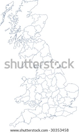 Map Of Uk Mainland.Illustration Map Mainland Uk Counties Stock Illustration 30353458