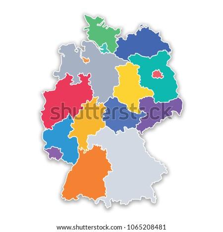 Germany Map States.Illustration Map States Germany Flat Colors Stock Illustration