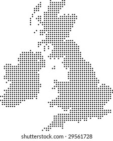 Illustration of a map of the uk made up of dots