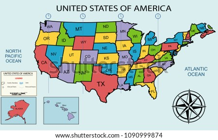 Illustration Map USA States Timezones Stock Illustration 1090999874 ...