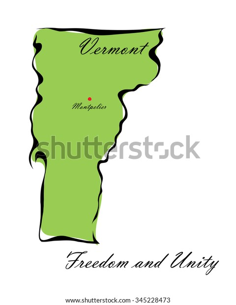 Map Of America Vermont.Illustration Map Vermont One States America Stock Illustration 345228473