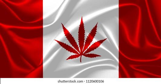 Illustration of marijuana leaf in a Canadian waving flag. Celebrating 2018 legalization.
