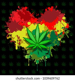 Illustration of marijuana leaf and hearts on a black background