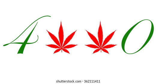An illustration of marijuana leafs used as the number 2 of 420 that represents it and the North American pot culture that follows with it isolated on white.
