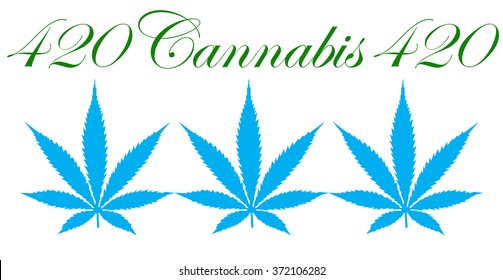 An illustration of marijuana leaves and the number 420 that represents it and the  North American pot culture that follows with it isolated on white.