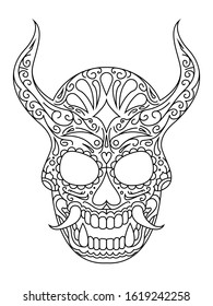 An illustration of a mask inspired by Japanese Oni masks and Mexican sugar skulls with ornate details.