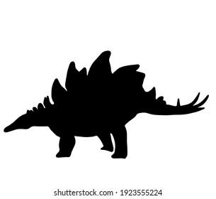 Illustration material of cute Stegosaurus silhouette
