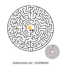 Illustration of maze labyrinth with award in flat style.