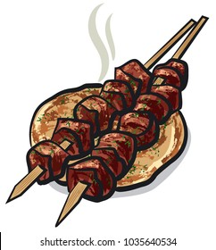 illustration of meat kebab