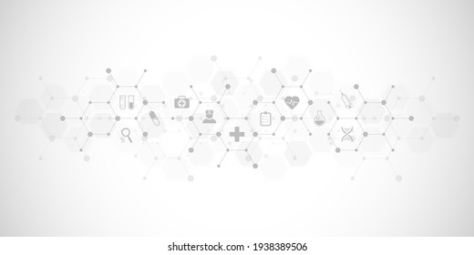 Illustration of medical background and healthcare technology with flat icons and symbols. Design template of concept and idea for health care business, innovation medicine, health safety, science.
