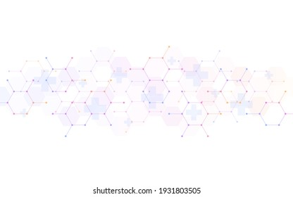 Illustration of a medical background with hexagons pattern and crosses.