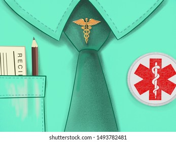 Illustration of medical shirt with a tie and a medical symbols