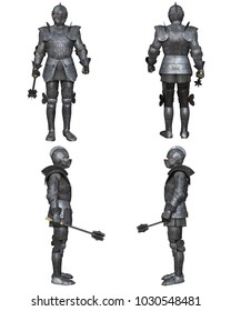 Illustration of a Medieval knight wearing 15th century decorated Gothic armour, set of four character views, digital illustration (3d rendering)