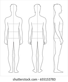 Illustration of men's body proportions and measurements for clothing design and sewing. Front, back side views. Raster version