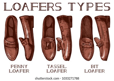 illustration of mens suit and casual loafer shoes set: penny, tassel, bit loafers. Vintage drawing style.