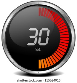 illustration of a metal framed digital stop watch showing 30s